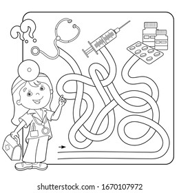 Maze or Labyrinth Game for Preschool Children. Puzzle. Tangled Road. Matching Game. Coloring Page Outline Of Cartoon Doctor with medical tools. Coloring book for kids.