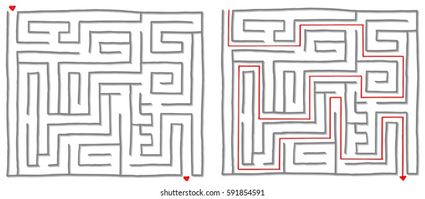 Maze labyrinth game with solution, find the way.