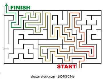 maze or labyrinth with solution. concept of success in business. vector illustration