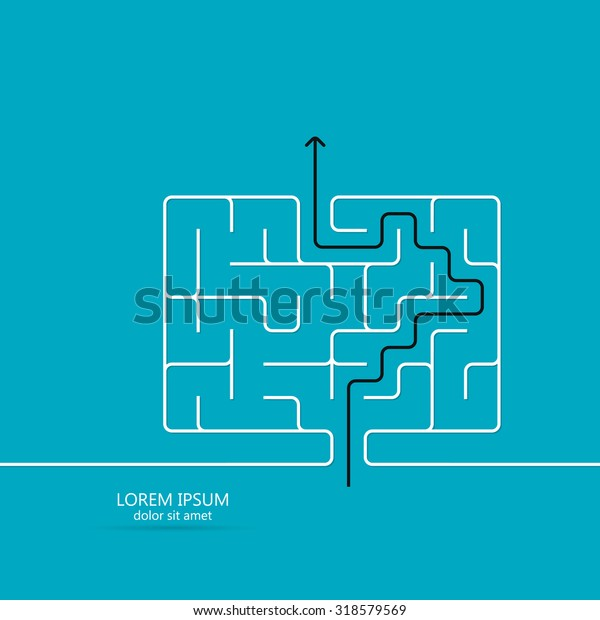 Maze / labyrinth template. Black arrow going through the maze, path across a labyrinth. Isolated on blue background. Vector illustration.