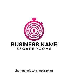 Maze Logo template , Escape Rooms Logo template designs vector illustration