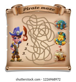 Maze pirate adventure - cute cartoon pirate boy with treasure chest, piracy ship and rope maze on the old scroll. Vector illustration.