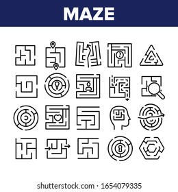 Maze Puzzle Different Collection Icons Set Vector. Maze Labyrinth Research And In Human Head, Direction And Locked, Keyhole And Heart Shape Concept Linear Pictograms. Monochrome Contour Illustrations