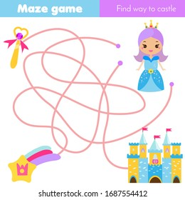 Maze puzzle. Help princess find fairy castle. Activity for and kids. educational children game