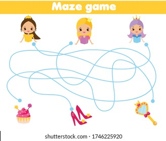 Maze puzzle. Help princess find objects. Activity for and kids. educational children game