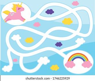 Maze puzzle. Help unicorn find rainbow. Activity for kids. educational children game