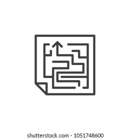 Maze scheme outline icon. linear style sign for mobile concept and web design. Labyrinth shape simple line vector icon. Symbol, logo illustration. Pixel perfect vector graphics