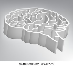 A maze in the shape of a brain. Vector Illustration