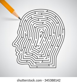 Maze in the shape of a human head in pencil. Vector Illustration