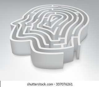 The maze in the shape of a human head.  Vector Illustration