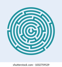 Circle Maze Icon Stock Illustrations, Images & Vectors