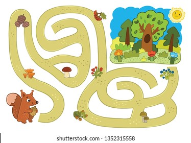 maze: squirrel goes along the path to the forest and collects delicious food along the way