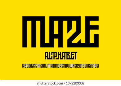 Maze style font design, labyrinth alphabet, letters and numbers vector illustration