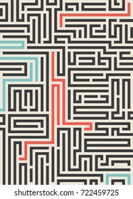 Maze texture vintage and place for your text isolated. Abstract illustration. Concept psychology, creative problem solving, logical thinking, the study of human relations