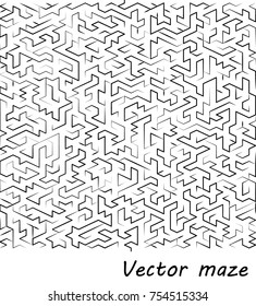 Maze vector illustration isolated over white background, conceptual logo template, design elements