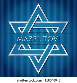 """Mazel Tov!"" blue star of David card in vector format."