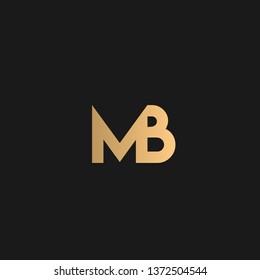 MB or BM logo vector. Initial logo vector golden letters on black background