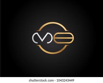 MB circle Shape Letter logo Design in silver gold color