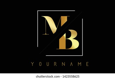 MB Golden Letter Logo with Cutted and Intersected Design and Square Frame Vector Illustration