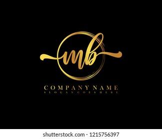MB initial handwriting logo circle template vector