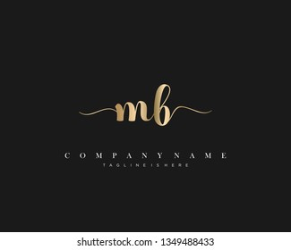 MB initial handwriting logo template with luxury color vector