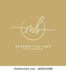 MB Initial handwriting logo template vector