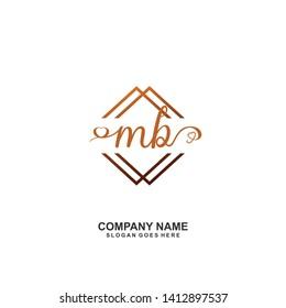 MB Initial handwriting logo vector