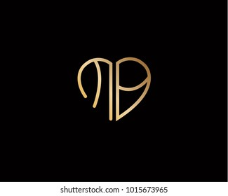 MB initial heart shape gold colored logo