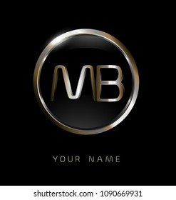 MB initial letters with circle elegant logo golden silver black background
