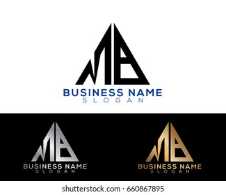 MB initial letters linked triangle shape logo