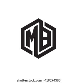 MB initial letters looping linked hexagon monogram logo