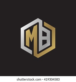 MB initial letters looping linked hexagon elegant logo golden silver black background