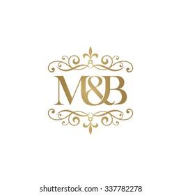 M&B Initial logo. Ornament ampersand monogram golden logo