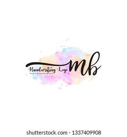 MB initial signature logo. handwriting logo template vector,