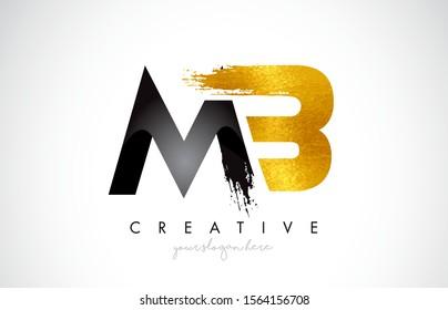 MB Letter Design with Black Golden Brush Stroke and Modern Look Vector Illustration.