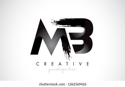 MB Letter Design with Brush Stroke and Modern 3D Look Vector Illustration.