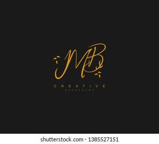 MB letter linked calligraphic monogram emblem style vector logo