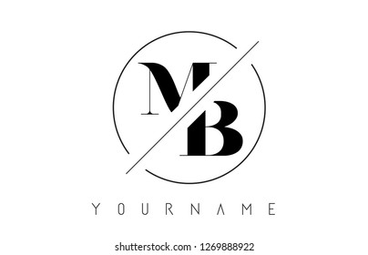 MB Letter Logo with Cutted and Intersected Design and Round Frame Vector Illustration