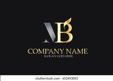 MB Letter Logo Design in Golden and Metal Color