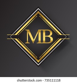MB Letter logo in a square shape gold and silver colored geometric ornaments. Vector design template elements for your business or company identity.