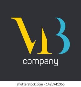 MB logo design. Monogram logo. Company logo. MB logo. Letteres M and B.