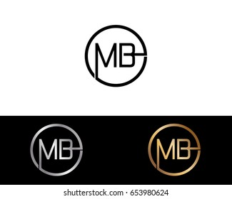 Mb Logo. Letter Design Vector with Red and Black Silver, Gold Colors
