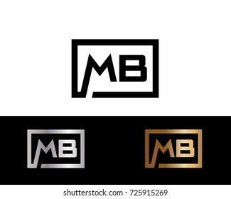 MB Logo. Letter Design Vector with Black Gold Silver Colors