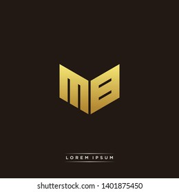 MB Logo Letter Initial Logo Designs Templete with Gold and Black Background