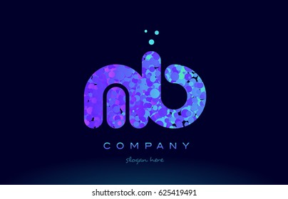 mb m b alphabet pink blue bubble circle dots creative letter company logo vector icon design template