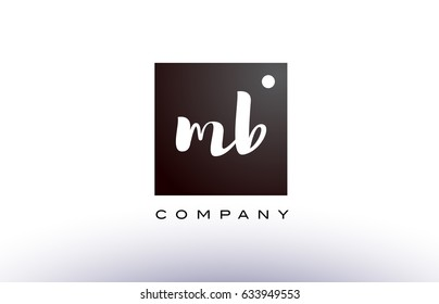 MB M B black white handwritten handwriting alphabet company letter logo square design template dot dots creative abstract