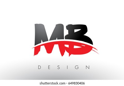 MB M B Brush Logo Letters Design with Red and Black Colors and Brush Letter Concept.