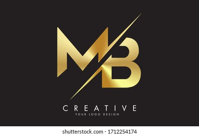 MB M B Golden Letter Logo Design with a Creative Cut. Creative logo design with Black Background.
