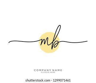MB M B Initial handwriting logo template