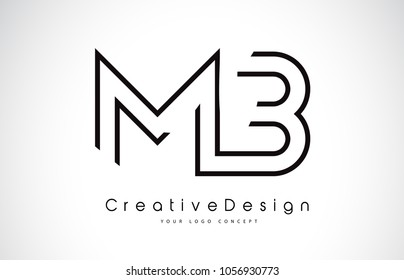 MB M B Letter Logo Design in Black Colors. Creative Modern Letters Vector Icon Logo Illustration.